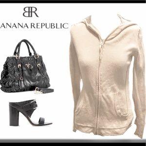 Bananas Republic Cashmere Zip Front Hoodie Sweater